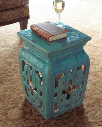 Turquoise Garden Seat traditional-ottomans-and-cubes
