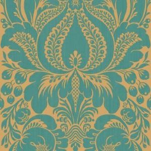 Peacock Large Scale Damask Wallpaper Sample eclectic-wallpaper