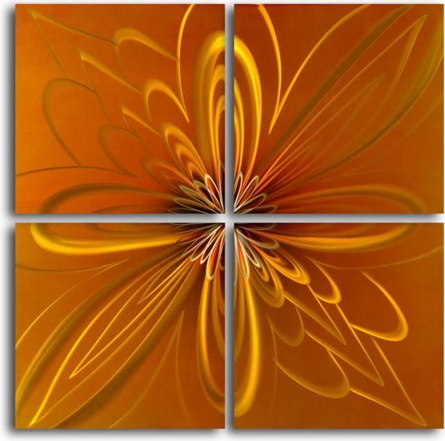 """""""Spirographic flower on tiles"""" 4 Piece Contemporary Handmade Metal Wall Art Set modern-artwork"""
