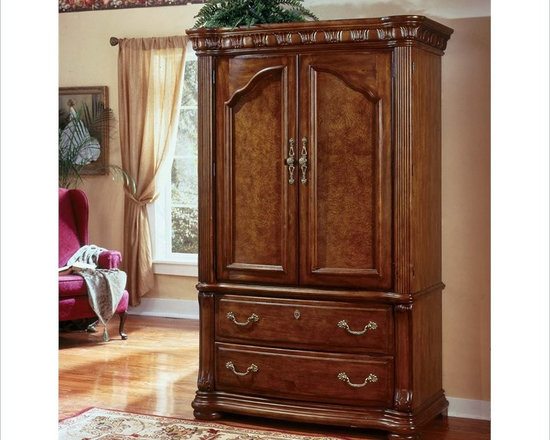 Wynwood Cordoba Entertainment Armoire in Burnished Pine Finish - Features: