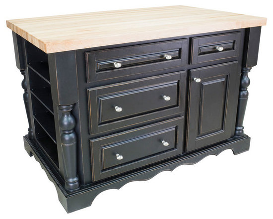 """Inviting Home - Napa Kitchen Island with Wine Rack (distressed black) - Distressed black cabinet style kitchen island with wine rack; 53-1/2""""W x 33-1/2""""D x 34-1/4""""H; 1-3/4"""" hard maple butcher block top (01) sold separately; Distressed black cabinet style kitchen island with satin nickel oblong knobs. Kitchen island features soft-close under-mount slides on drawers. Kitchen island has fully adjustable spice shelves on both ends and removable wine rack. Holds up to 48 bottles with additional wine racks. Deep drawers and a large cabinet for storage of pots pans and small appliances. Traditional posts; 1-3/4"""" hard maple butcher block top (01) sold separately."""