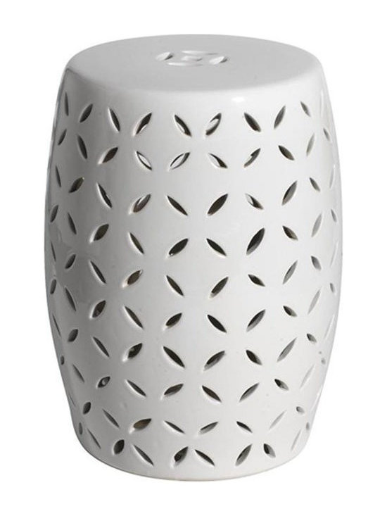 Belle & June - Coin Carving Garden Stool - Sleek and contemporary, the Silver Coin Carving Garden Stool boldly commands attention. A perfect accent piece for the inventive design, this white stool evokes the best of modernity while applying a touch of culture and depth to any space to your space.
