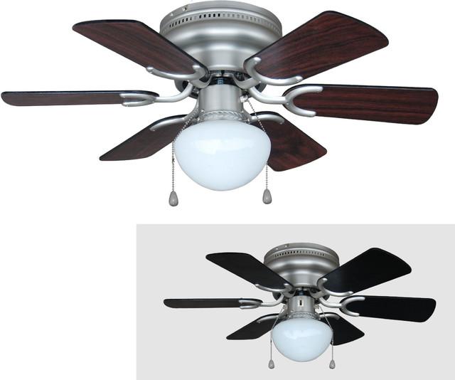 "Satin Nickel 30"" Hugger Ceiling Fan w Light Kit"