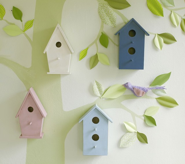 eclectic nursery decor Wooden Bird Houses