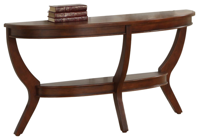Homelegance avalon half moon sofa table in cherry for Half moon console table