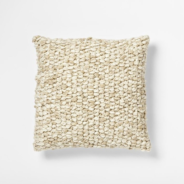 Looped Tassel Pillow Cover, Ivory contemporary-decorative-pillows