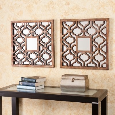 Parquetry Decorative Metal Mirror Set - 20.25W x 20.25H in. each - Set of 2 modern-mirrors