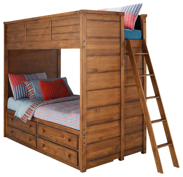 Lea Elite Logan County Bunk/ Loft Bed with Captain Box - Full over Full traditional-kids-beds
