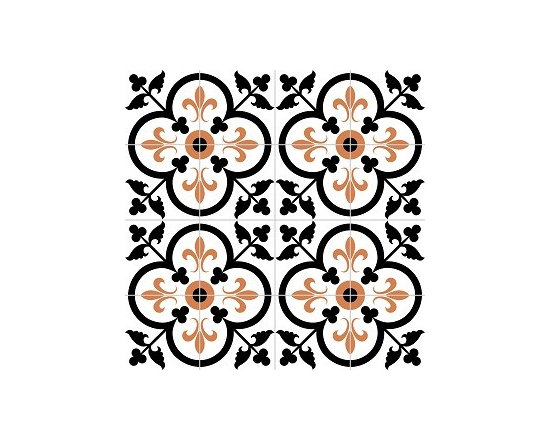 "Traditional Fleur-de-Lis in Clover Polished 8"" x 8"" Handmade Cement Tile -"
