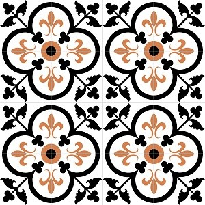 """Traditional Fleur-de-Lis in Clover Polished 8"""" x 8"""" Handmade Cement Tile traditional-tile"""