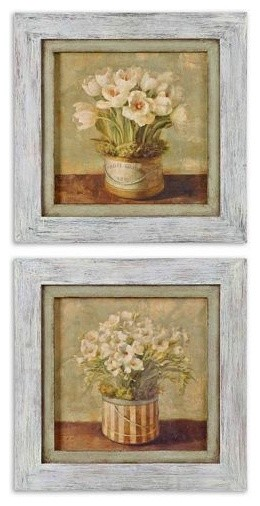 Uttermost Hatbox Freesia & Tulips, S/2 traditional-artwork