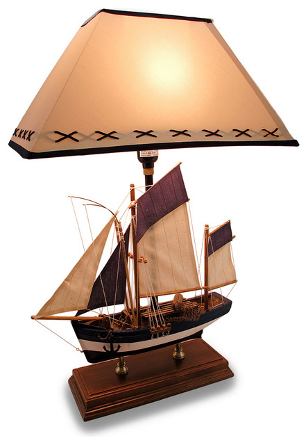Sailboat Table Lamp : Life like blue and white nautical wooden sail boat table