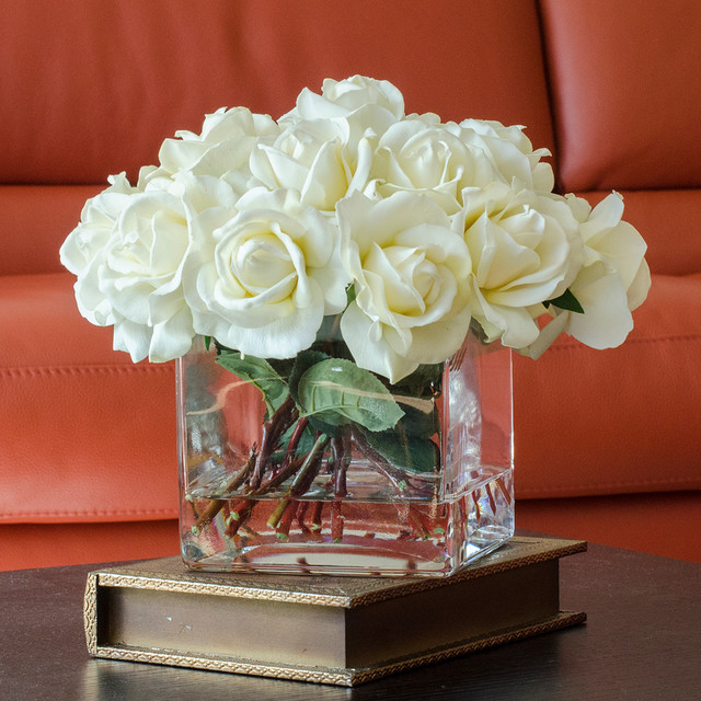 White real touch roses faux arrangement centerpiece for Artificial flower decoration for home