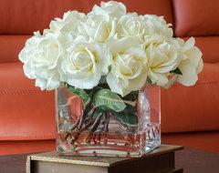 White Real Touch Roses Faux Arrangement & Centerpiece for Home Decor contemporary-artificial-flower-arrangements