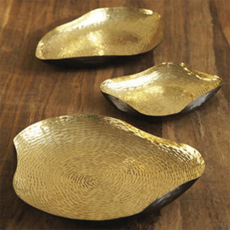 Set of Three Brass Alchemy Trays modern serveware