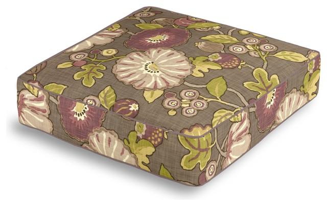 Floor Box Pillows : Purple & Green Modern Floral Box Floor Pillow - Transitional - Pillows - by Loom Decor