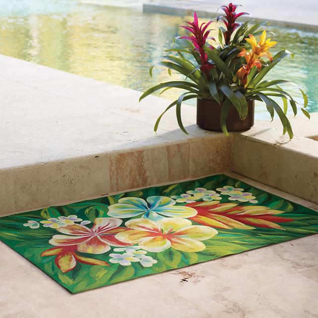 Tropical Flower Indoor Outdoor Rug 3 x 8 Runner