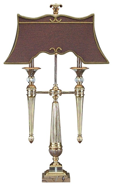 John Richard Antique Brass And Crystal Table Lamp