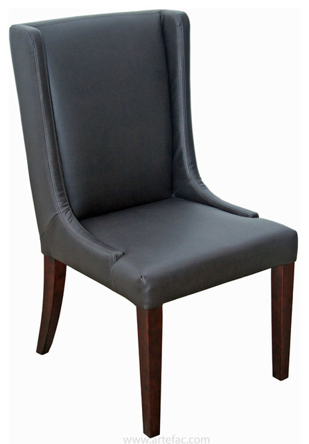 Wing back leather dining room chair in grey brown and for Brown leather dining room chairs