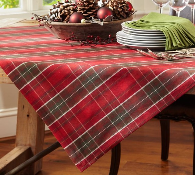 Plaid Table Throw - Traditional - Tablecloths - by Pottery Barn