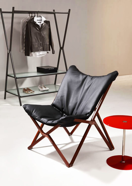 MODERN BLACK FOLDING LOUNGE CHAIR DRAPER   Modern   Folding Chairs And  Stools.
