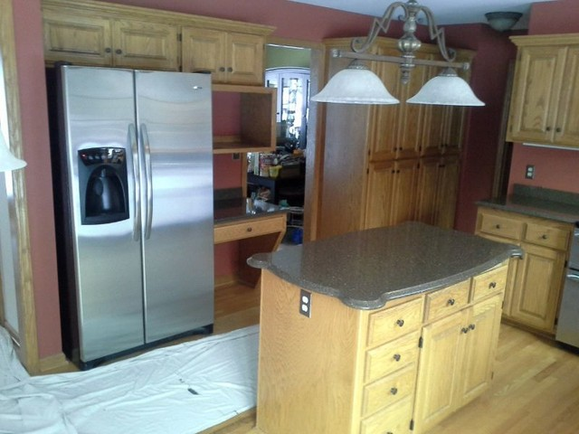 Changing Golden Oak Cabinets to White traditional