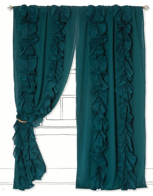 Wandering Pleats Curtain, Turquoise contemporary-curtains