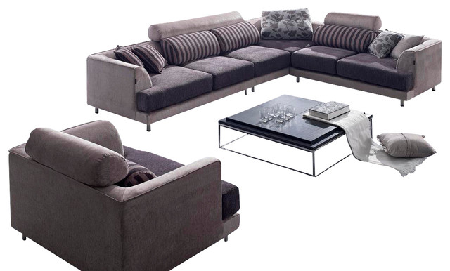 Tosh Furniture Modern Two Tone Sectional Sofa Includes