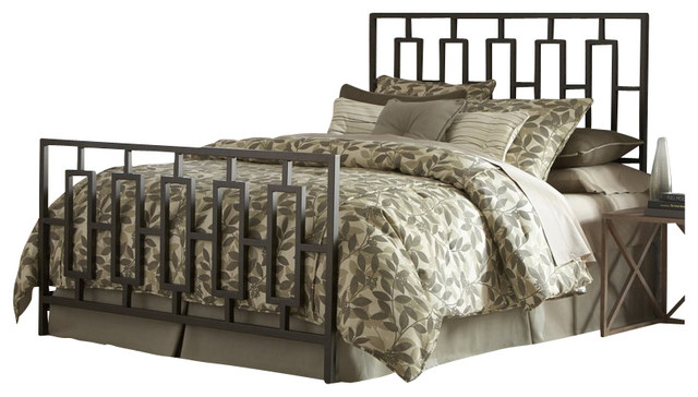Fashion Bed Miami Metal Panel Headboard in Coffee-Queen transitional-headboards