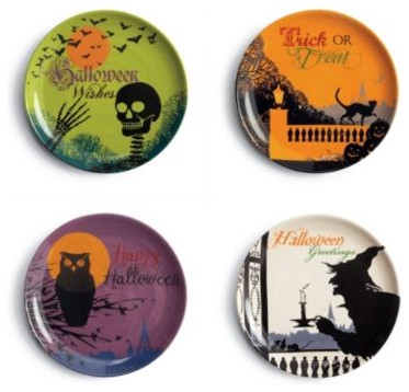 Set of Four Trick or Treat Halloween Dessert Plates contemporary-plates