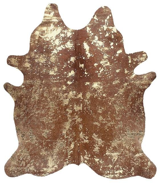BROWN COWHIDE METALLIC SILVER ACID WASH RUG RUGS LEATHER CARPET SPECKLES modern-rugs