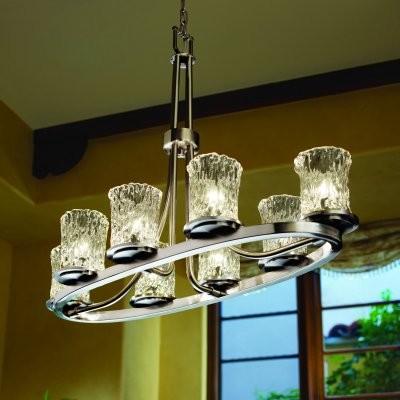 Justice Design Group Veneto Luce GLA-8751-16-CLRT-NCKL Dakota 8-Light Oval Ring modern-chandeliers