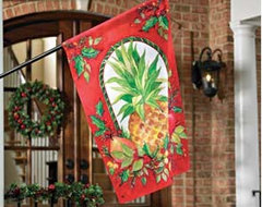 Holly Pineapple House Flag traditional holiday outdoor decorations
