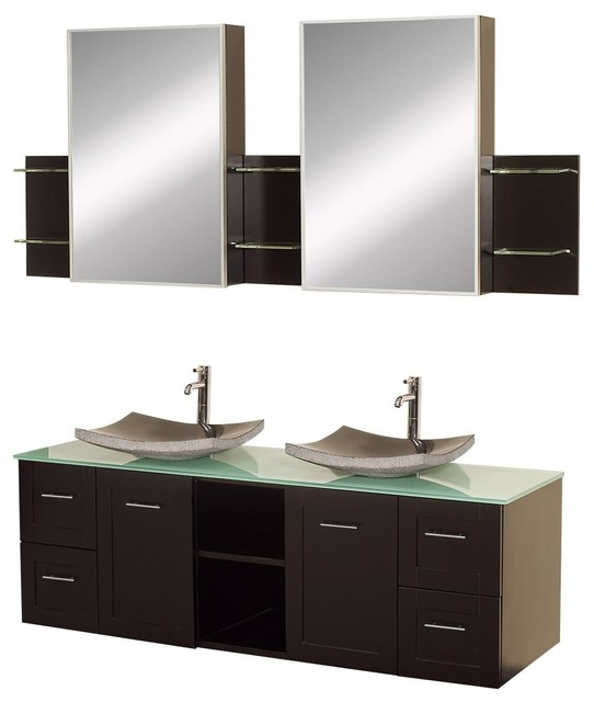 "Wyndham Collection 60"" Avara Espresso Double Sink Vanity w/ Green Glass Top modern-bathroom-vanities-and-sink-consoles"