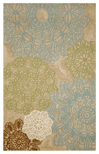 Liora Manne Aqua Crochet Area Rug contemporary-doormats
