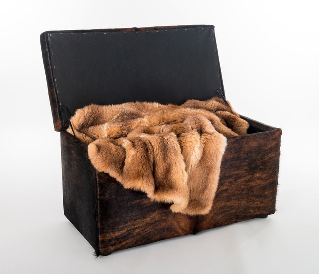 Cowhide Covered Storage Ottoman Furniture Rustic