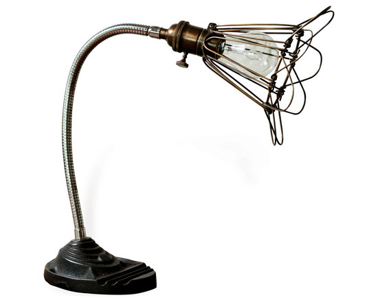 Kathy Kuo Home - Finley Vintage Gooseneck Cage Wire Desk Lamp - A marriage of form and function, this antique brass desk lamp features a flexible gooseneck, delivering an ambient radiance anywhere you choose. Crafted from recycled cast iron and brass,  this quirky desk lamp is where industrial hardware meets vintage charm. Enjoy a one year warranty on this piece.