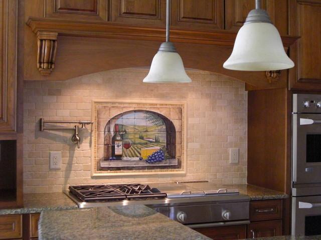 Kitchen custom tile backsplash design traditional for Colorful concepts interior design
