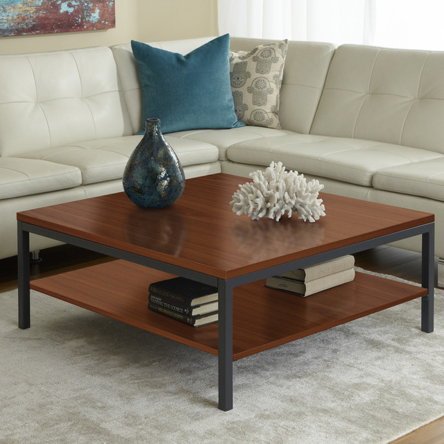 Parsons edition square coffee table with shelf in cherry for Modern cherry coffee table