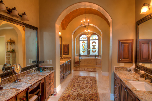Elegant bathrooms in the Texas Hill Country by Stadler Custom Homes mediterranean-bathroom
