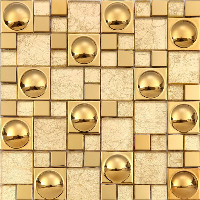 Kitchen Backsplash Tile Ideas Magic Pattern Gold Crystal