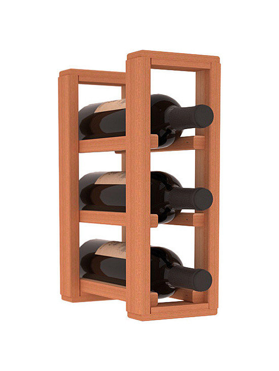 Wine Racks America® - 3 Bottle Counter Top/Pantry Wine Rack in Redwood, (Unstained) - These counter top wine racks are ideal for any pantry or kitchen setting.  These wine racks are also great for maximizing odd-sized/unused storage space.  They are available in furniture grade Ponderosa Pine, or Premium Redwood along with optional 6 stains and satin finish.  With 1-10 columns available, these racks will accommodate most any space!!