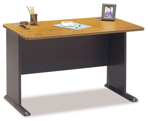 series 48 inch desk in natural cherry and slate contemporary desks