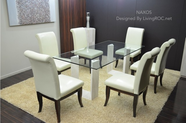 """NAXOS 79""""x39""""x29"""" TRAVERTINE MARBLE GLASS DINING TABLE craftsman-dining-tables"""