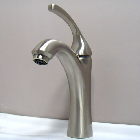 Satin Brushed Nickel Bathroom Faucet contemporary-bathroom-faucets-and-showerheads