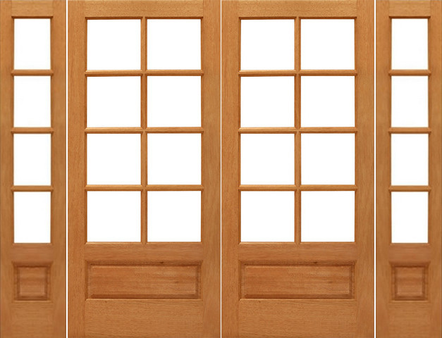 Prehung 8 lite french mahogany 1 panel ig glass double for 1 lite french door