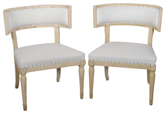 Swedish Gustavian Klismos Chairs traditional-living-room-chairs