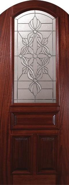 Slab Single Door 96 Wood Mahogany Evangeline Arch Top Arch Lite mediterranean-front-doors