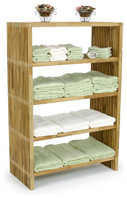 Westminster Teak Storage Floor Towel Shelf Modern