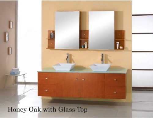 Virtu USA Clarissa 61-in. Honey Oak Double Bathroom Vanity Set MD-457 contemporary bathroom vanities and sink consoles